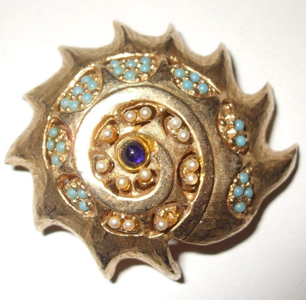 1964 Oleg Cassini Nautilus Brooch with Turq, and Royal Rhinestones