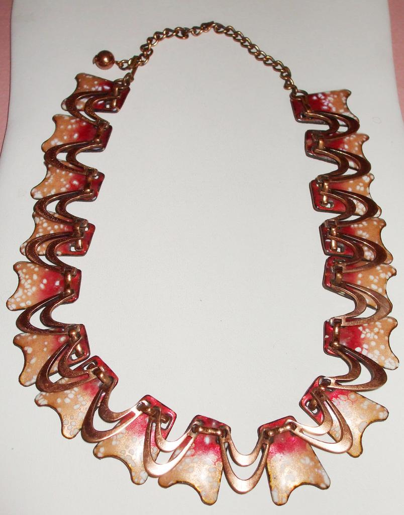 Copper Necklace with Raspberry and Peach Speckle Enamel Design