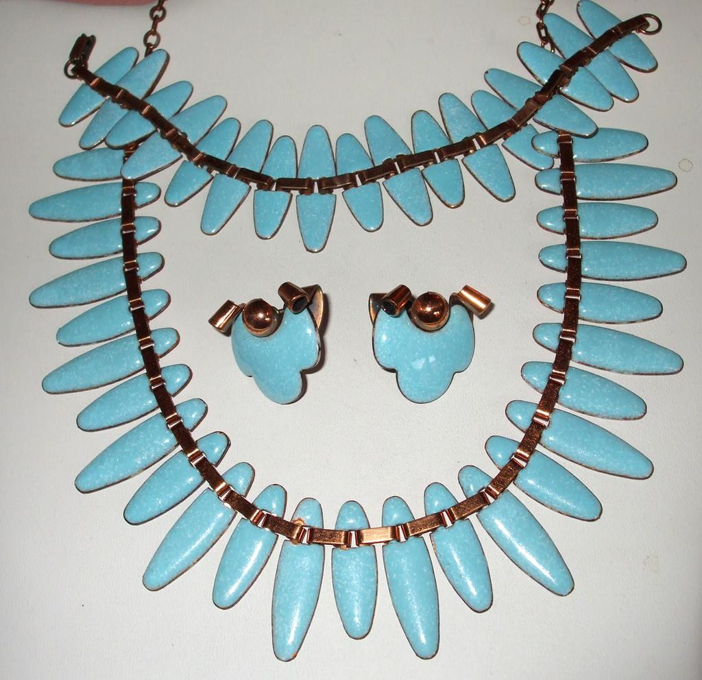 Signed Matisse Turq Enameled Copper Full Parure-Necklace, Bracelet, Earrings