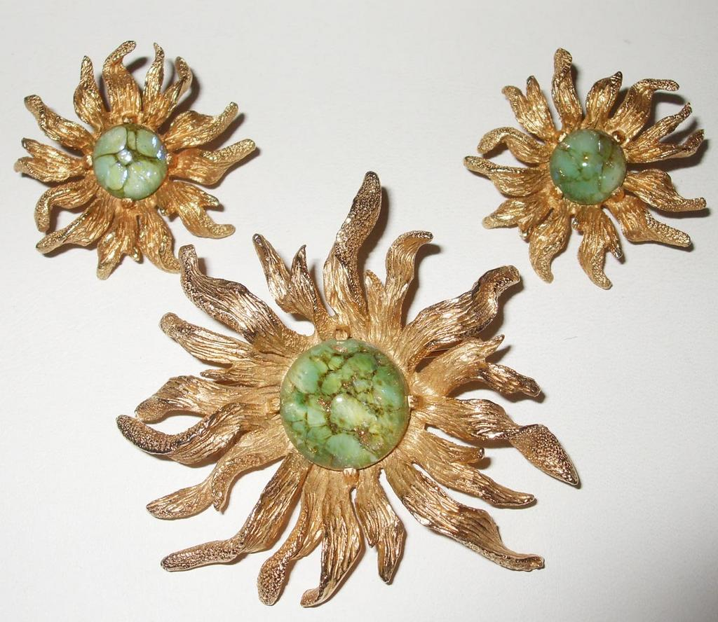 Boucher Strange Days Sunflower Brooch and Earrings with Dragon's Egg Rhinestone Center
