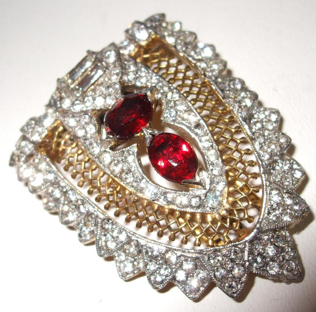 Rare Dramatic Older DeRosa Lacy Fur Clip With Clear and Cherry Red Rhinestones