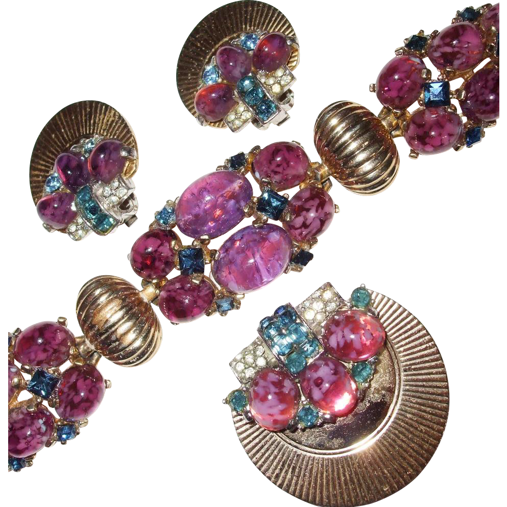 Proudly Purple Numbered Boucher Big Bold Dragon Egg Cabochon and Rhinestone Bracelet, Brooch and Earring Set