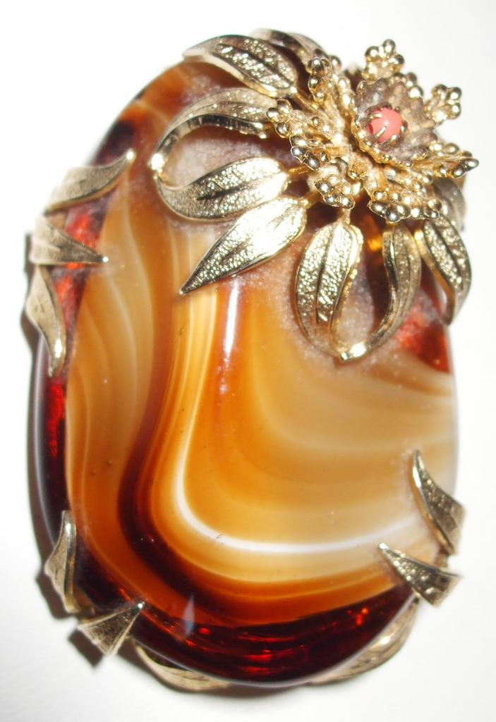 Signed Eugene Giant Agate Looking Piece with Floral Accents Brooch or Pendant