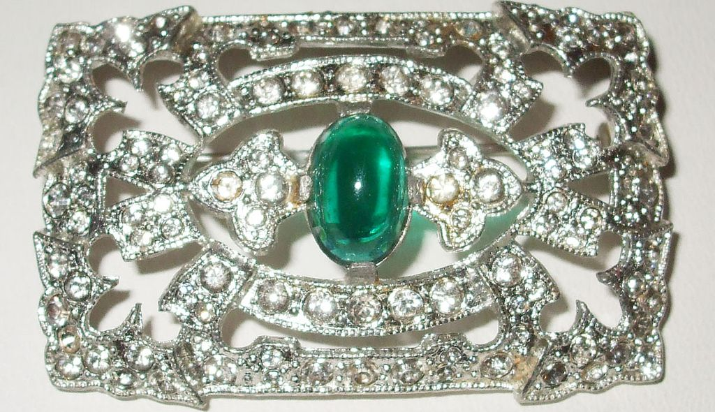 Brilliant 1930's Art Deco Rhinestone Brooch with Glorious Green Cabochon