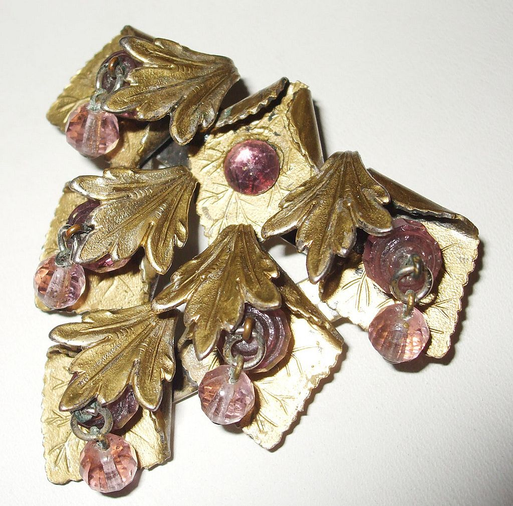 1940's Dangling Crystal and Brass Leafy Brooch