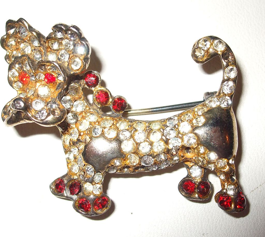 Rare Calvaire Sterling Soulful Sad Eyed Rhinestoned Dog Brooch