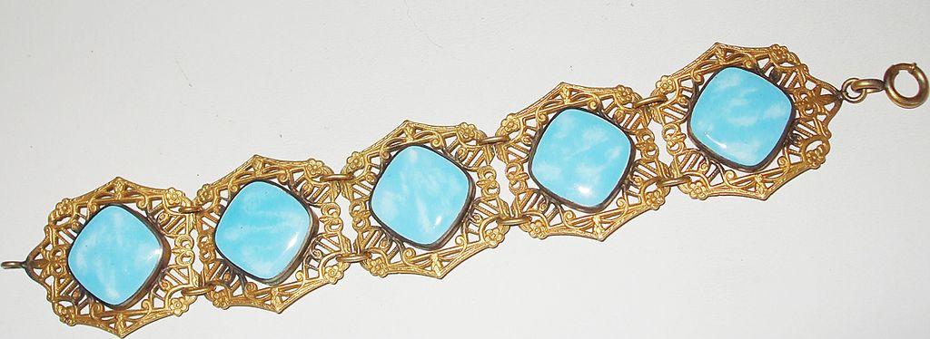 Tantalizing Turq Czech Filigree Bracelet