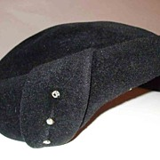 Fabulous Black Imported Furry Felt Hat with Rhinestones-1940's-1950's