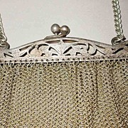 Turn of the Century Cut Out Frame German Silver Mesh Purse