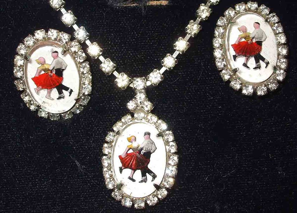 Rhinestone Edged Square Dancing Couple Necklace and Earring Set