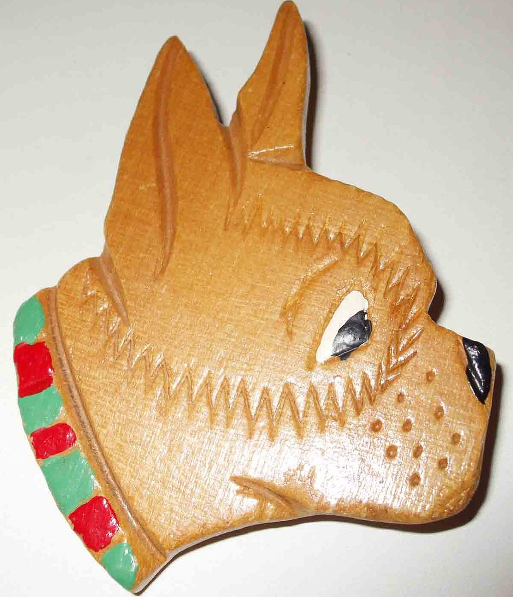 Adorable C Clasp Painted Wooden Worried Boxer Dog Figural Brooch