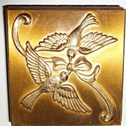 Vintage Repousee Double Swallows with Ribbon Gold-Tone Metal Compact