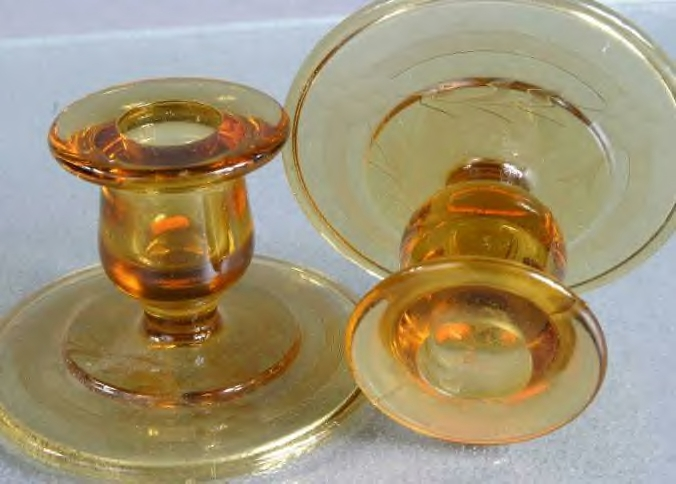 Cambridge Amber Cut Candlesticks with Etched Leaf Design