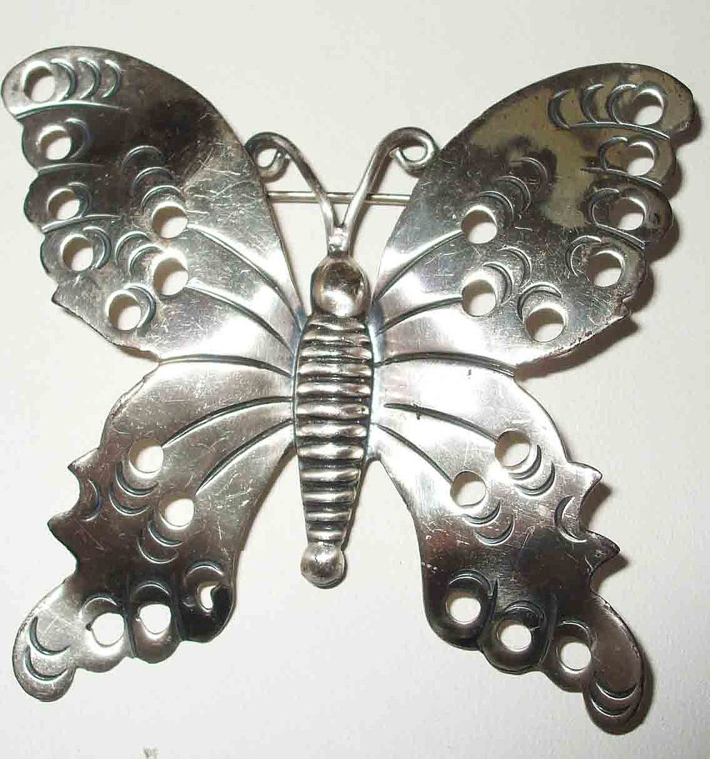 Signed 925 Mexican Silver Butterfly Brooch