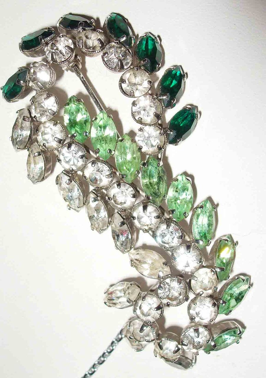 Emerald, Peridot and Diamond Colored Rhinestone Paisley Brooch