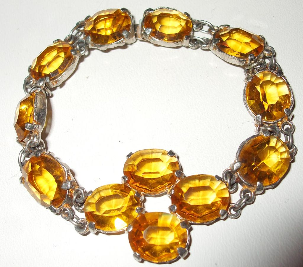 1920's Art Deco Large Faceted Dark Amber Glass Paste Bracelet