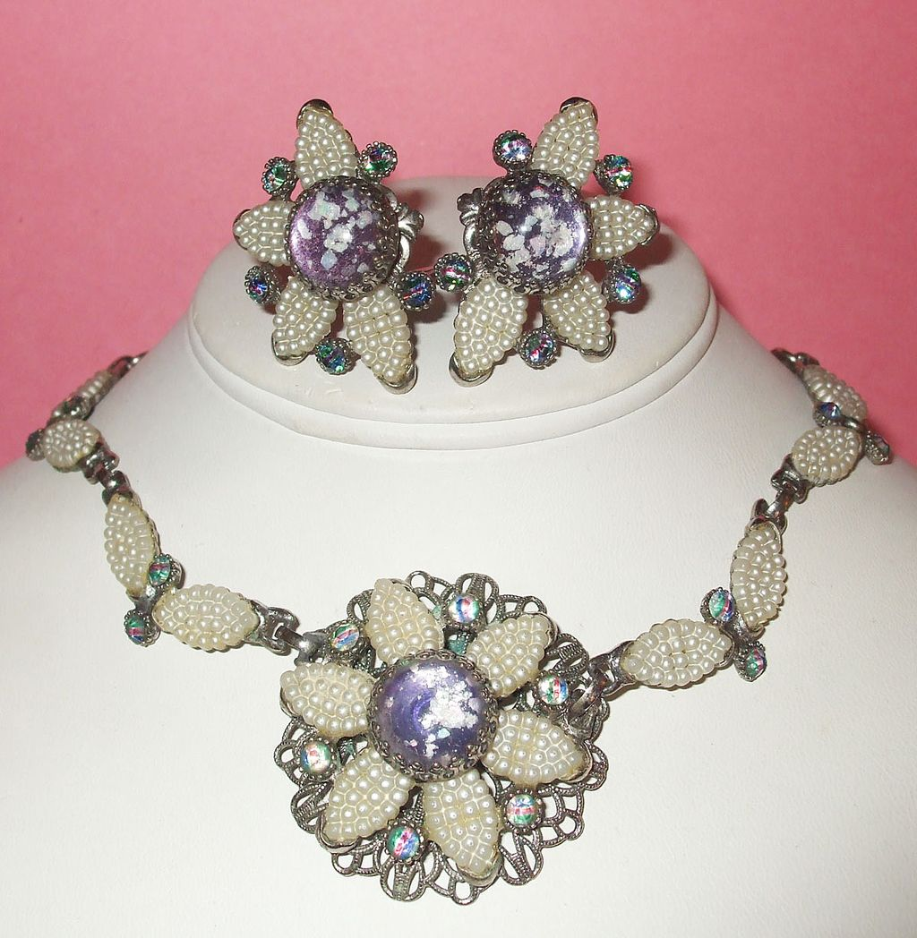Spectacular Signed Selro Hand Beaded Look Rhinestone Necklace and Earrings