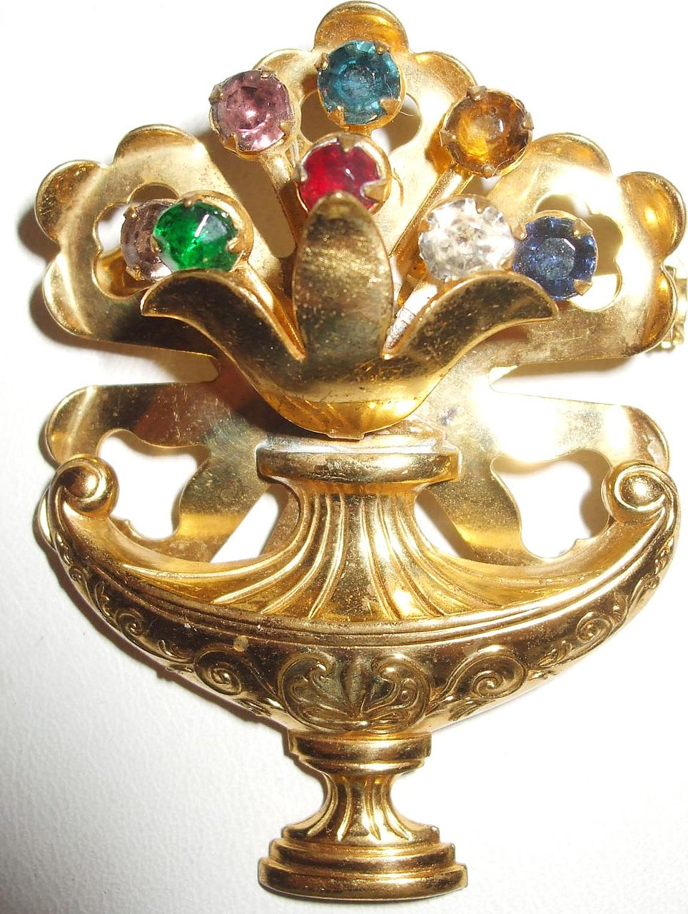 Retro Rolled Metal Work and Scrolled Multi Color Rhinestone Floral Basket/Urn Brooch