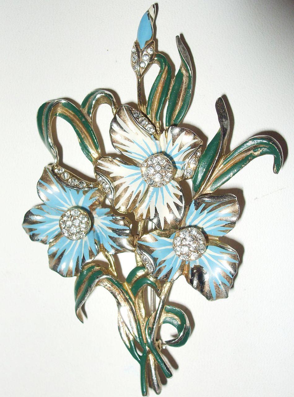 Signed Deja Enamel and Rhinestone Floral Brooch