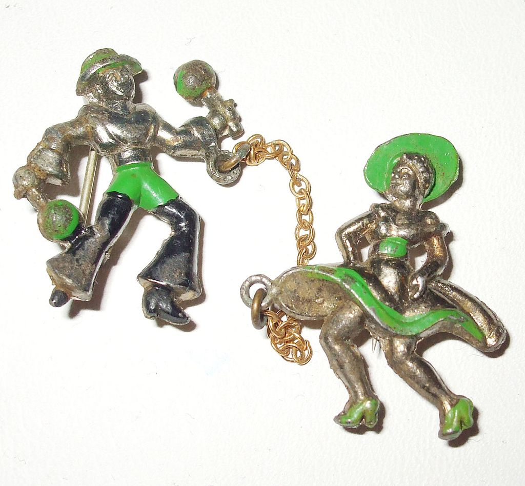 South of the Border Enameled Dancing Figural Chatelaine Scatter Pins