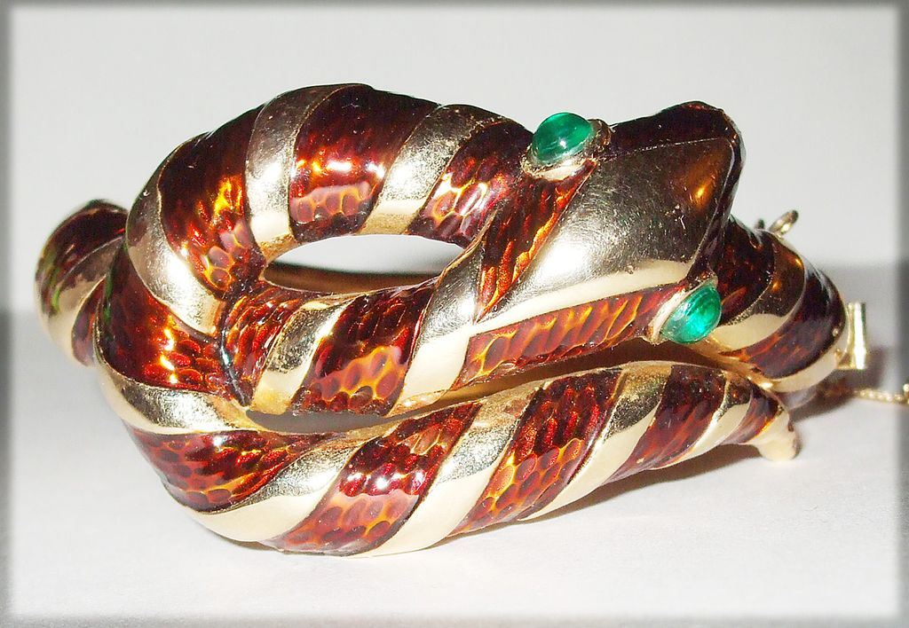 Crown Trifari Garden of Eden Enameled Snake Bracelet with Emerald Eyes