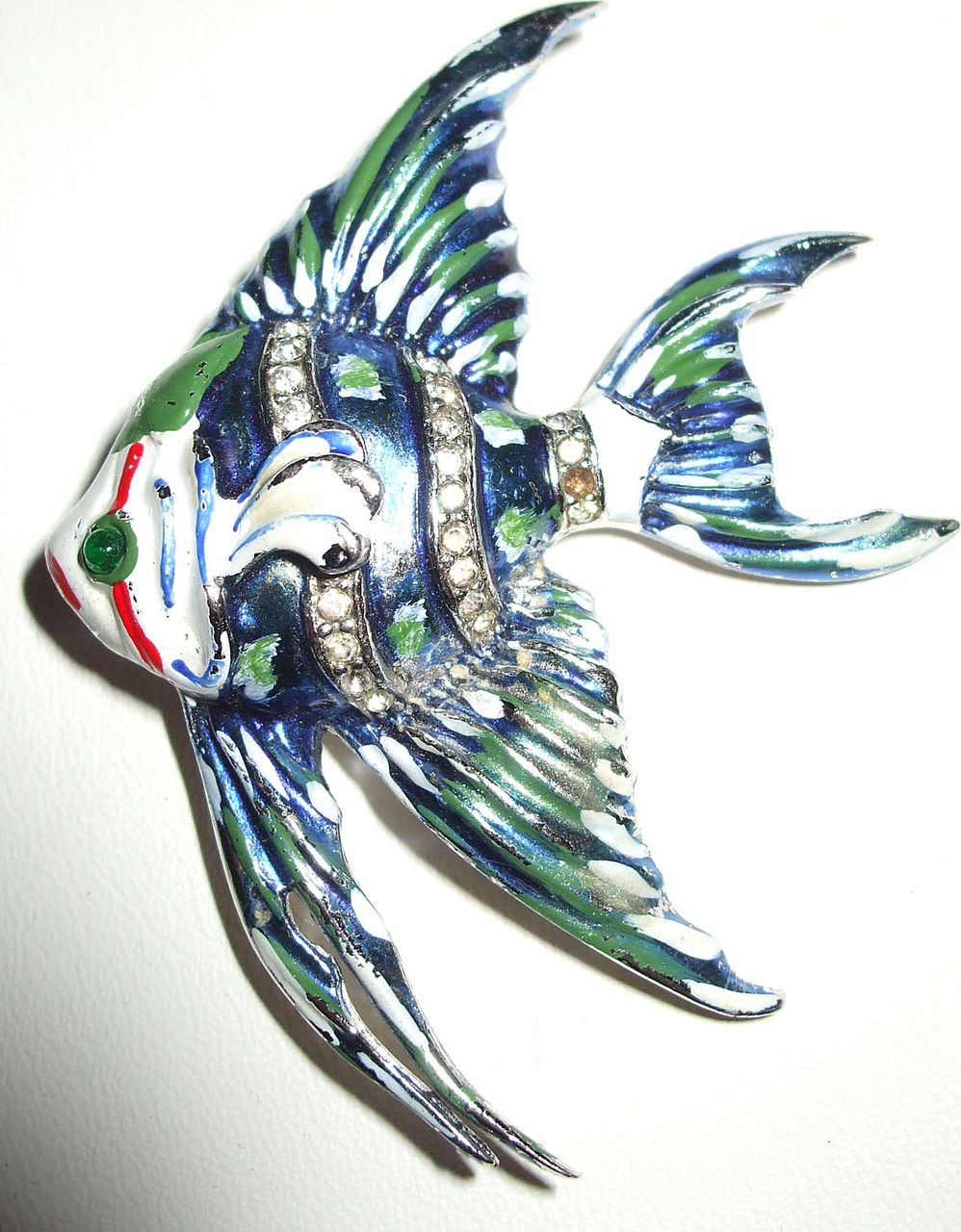 Gorgeous Highly Detailed Enameled Fish Dress Clip/Brooch with Rhinestones