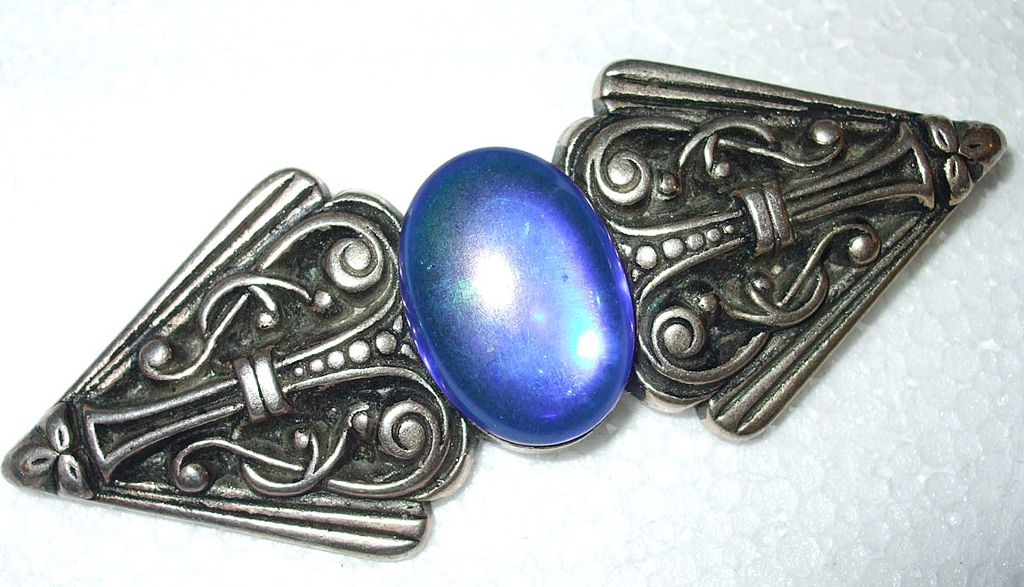Egyptian Revival Giant Oil Slick Irridescent Cabochon Brooch