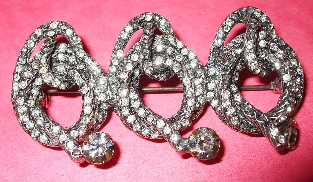 Coiled Triple Lariat Rhinestone Snake-Like Brooch