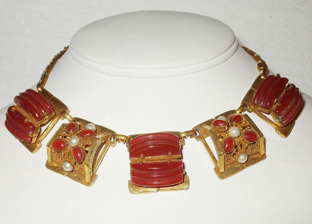Decadent Carved Carnelian Colored Lozenge Necklace with Cabochons and Imitation Pearls
