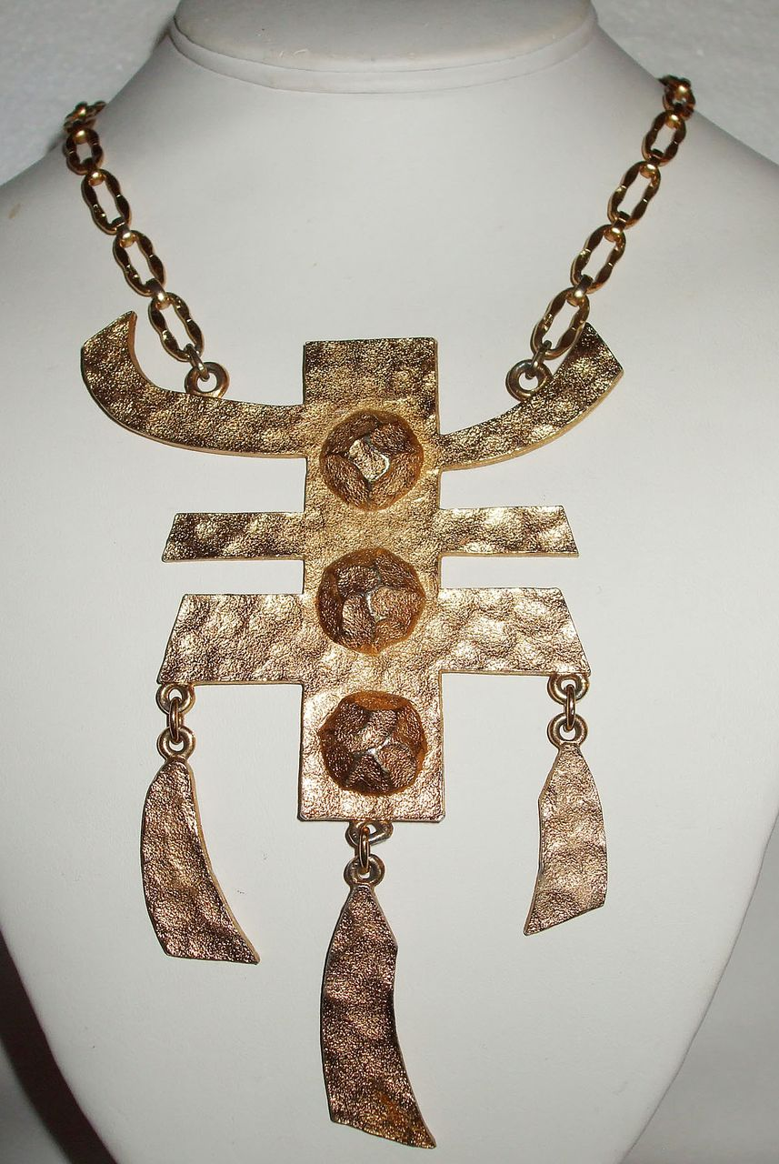 Signed Napier Asian Influenced Large Drop Dangling Necklace