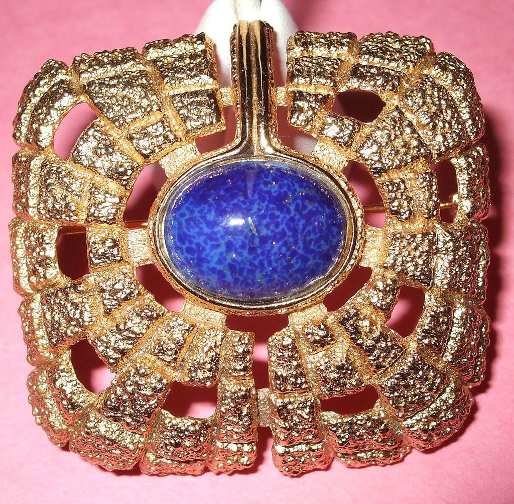 1970's Signed Napier Egyptian Revival Blue Stoned Modernist Brooch