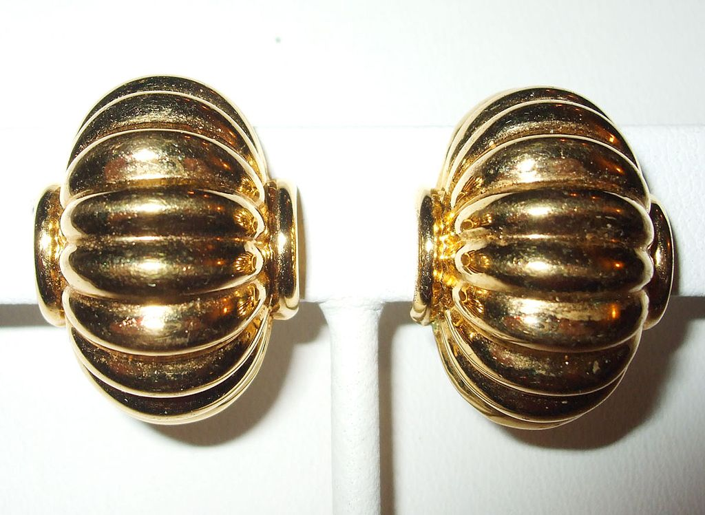 Signed Napier Ridged Earrings with Spring Screw Backs