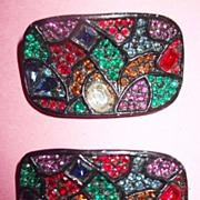 Vintage 1960s Signed Musi Jappaned Back Rhinestone Shoe Clips