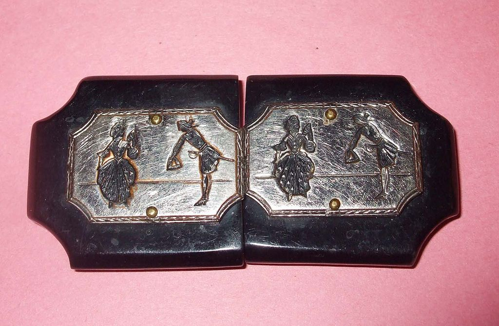 Vintage Wood and Etched Metal French Court Figural Belt Buckle