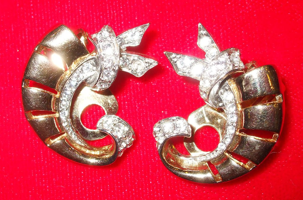 Signed MB Magical Rolled Rose Tone Earrings with Pave Rhinestones