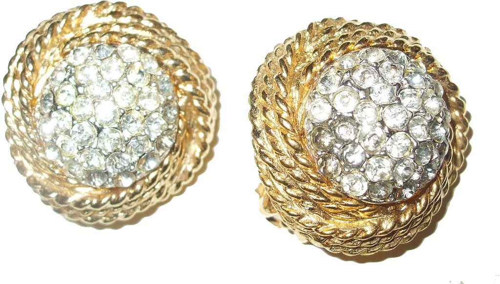 Donald Stannard Rhinestone and Braid Earrings