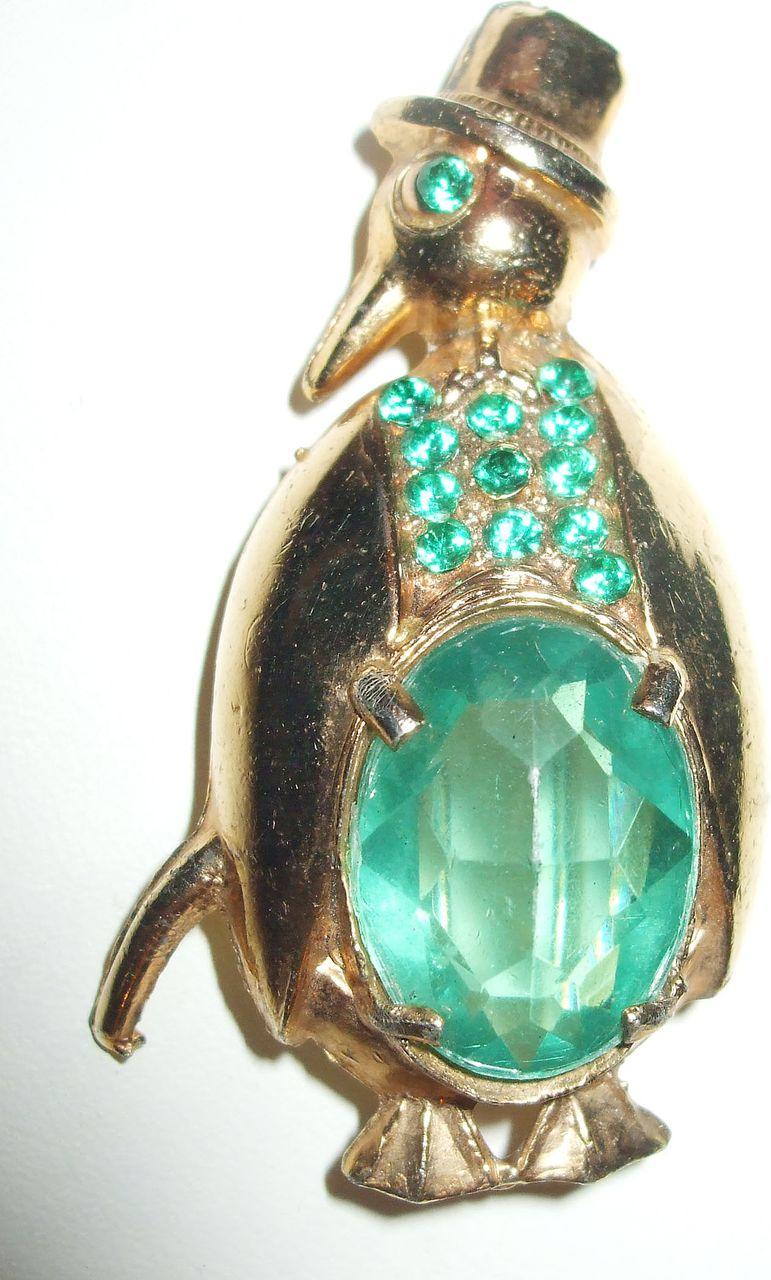 Mr. Penguin Tuxedoed Green Rhinestone Figural Brooch