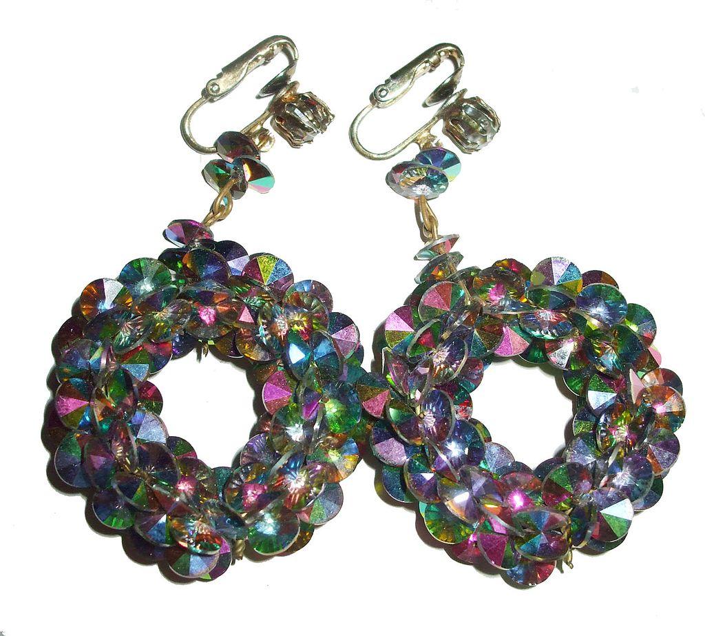 Rainbow Colored Vitrial Lunar Earrings