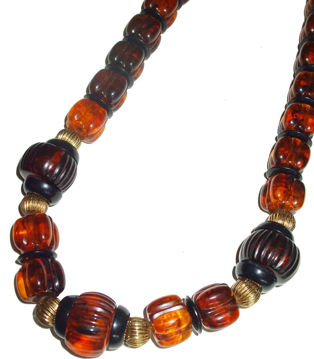 Funky and Fun Rootbeer and Brown Lucite Barrel Bead Necklace