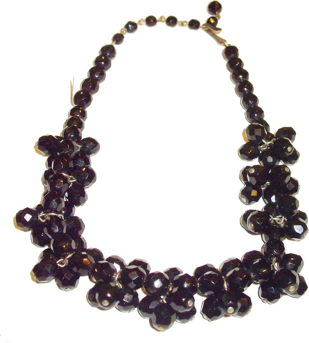 Funky Black Glass Cluster Bead Necklace