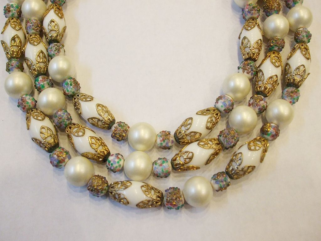 Triple Strand Oblong Wedding Beads with Baroque Detailing and Confetti Bead Spacers