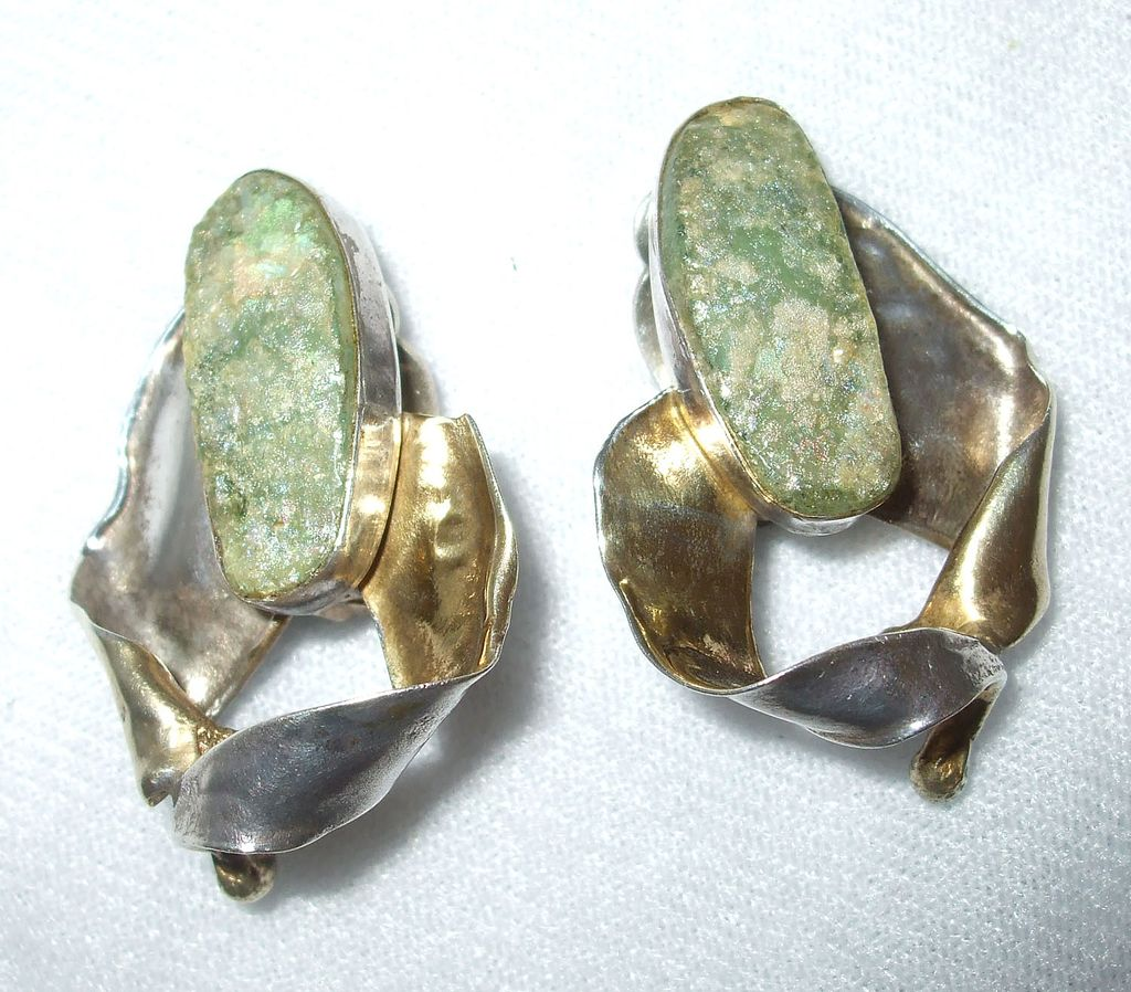 Modernist Sterling and Irridescent Peanut Stone Shaped Earrings