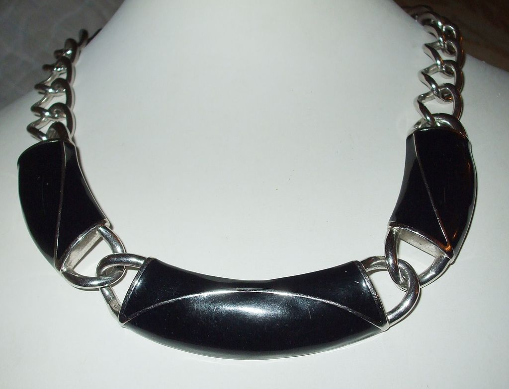 MONET Black Enamel and Silver Tone Metal Modernist Necklace