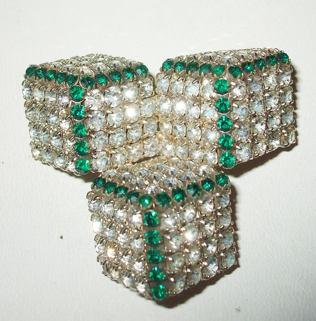 Funky Three Dice Night Diamond and Emerald Colored Brooch