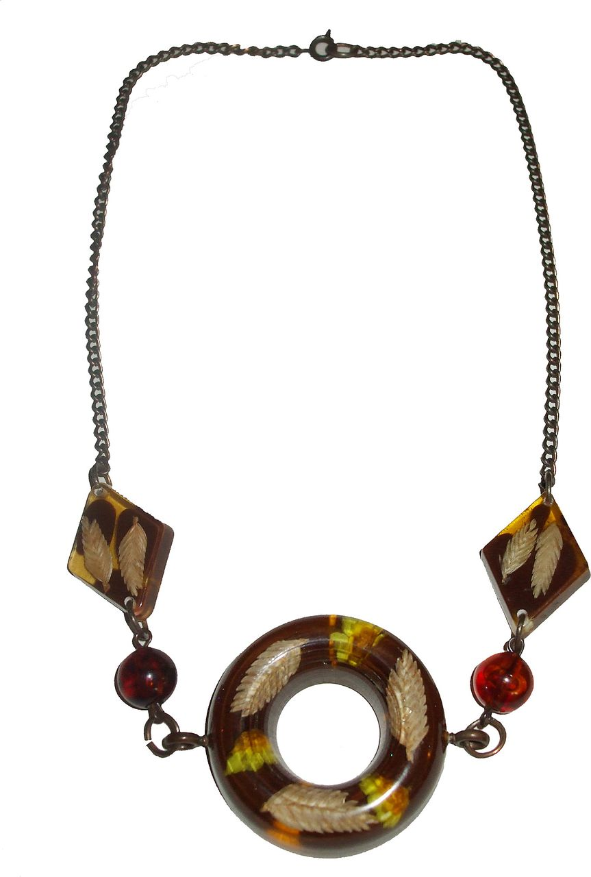 Leaf and Floral Embedded Lucite Necklace