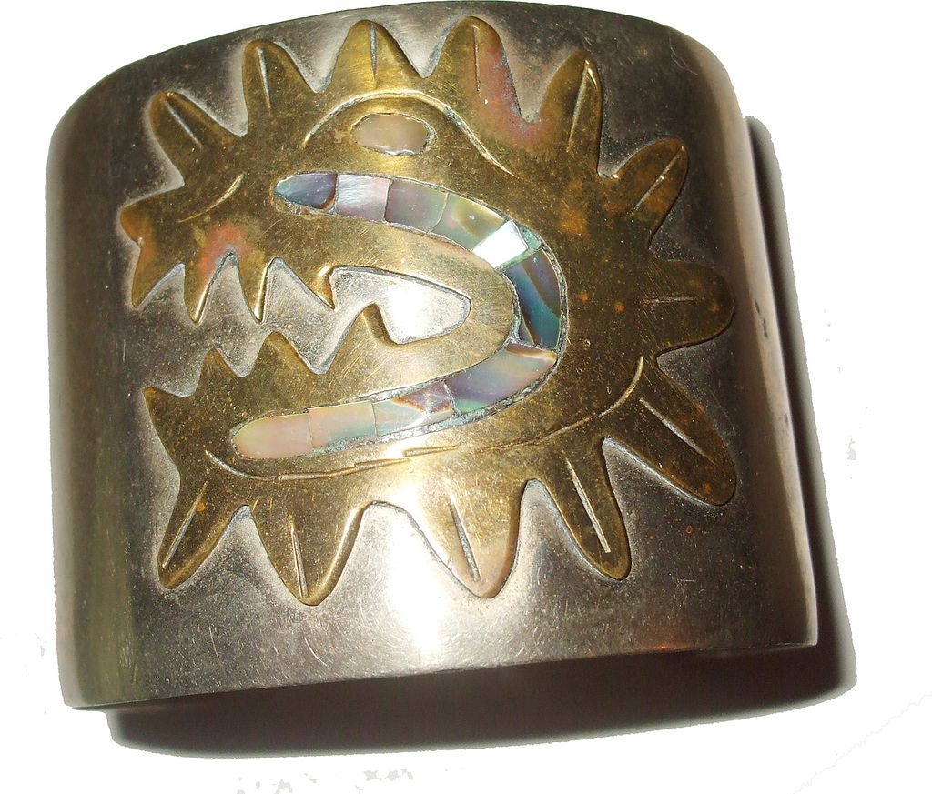 Mixed Metal and Abalone Mayan Looking Cuff Bracelet