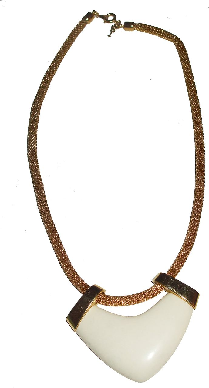 TRIFARI Lucite and Gold Tone Metal Pendant Necklace on Mesh Chain