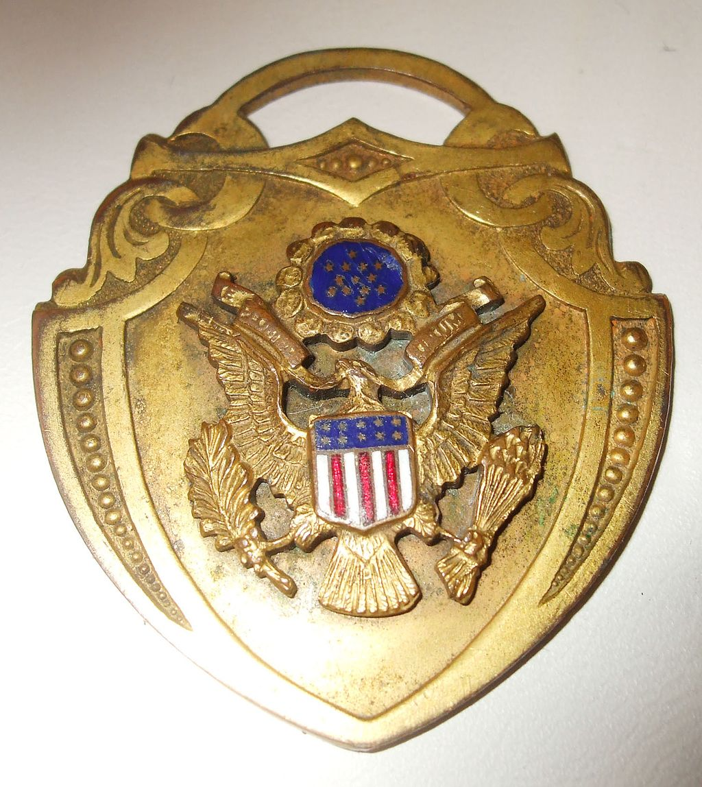 Unusual Americana Eagled Medallion Pendant with Enamel