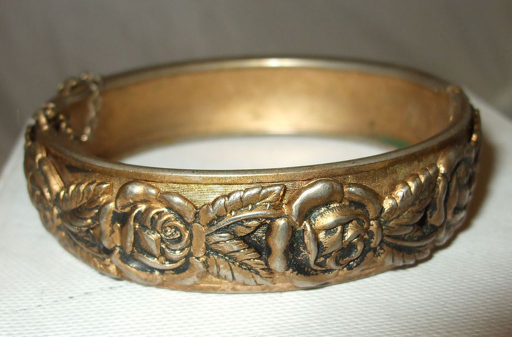 Applied Flower and Lead Slide Clasp Hinged Bangle Bracelet