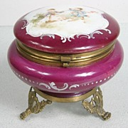 Early 20th Century Hand Painted Glass Ormolu Powder Box